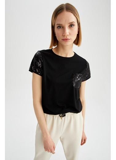 DeFacto Payetli Bisiklet Yaka Relax Fit Cep Detaylı T-shirt Siyah